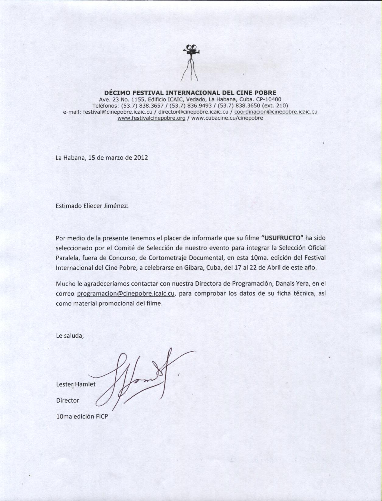 Carta De Admisi  N Doental Usufructo X Festival Internacional De