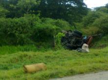 el chofer del camión perdió la vida en este accidente, acontecido este domingo en Vertientes, Camagüey.